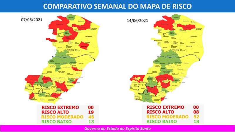 Governo do Espírito Santo divulga 59º Mapa de Risco Covid-19