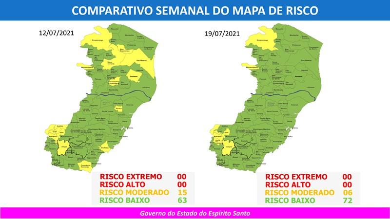 Governo do Espírito Santo divulga 64º Mapa de Risco Covid-19