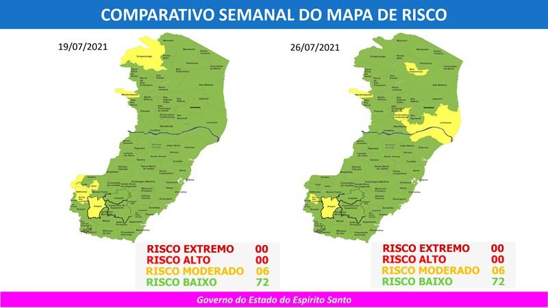 Governo do Espírito Santo divulga 65º Mapa de Risco Covid-19