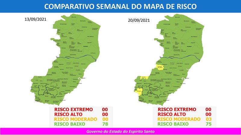 Governo do Espírito Santo divulga 73º Mapa de Risco Covid-19