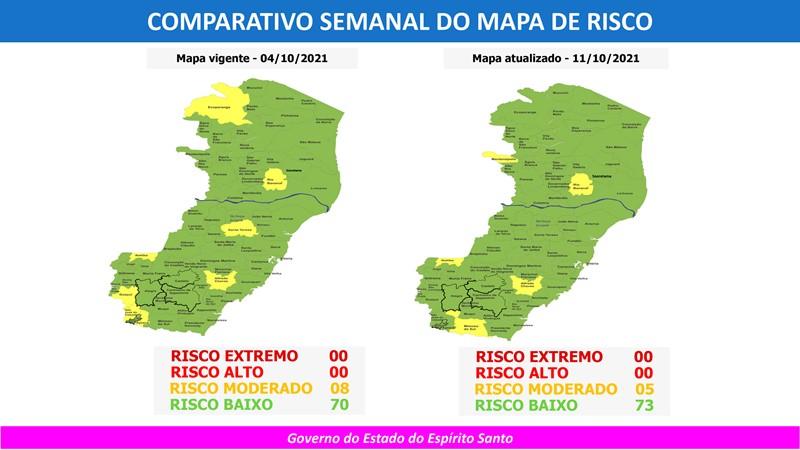 Governo do Espírito Santo divulga 76º Mapa de Risco Covid-19