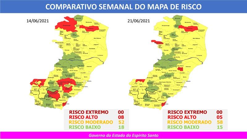 Governo do Espírito Santo divulga 60º Mapa de Risco Covid-19